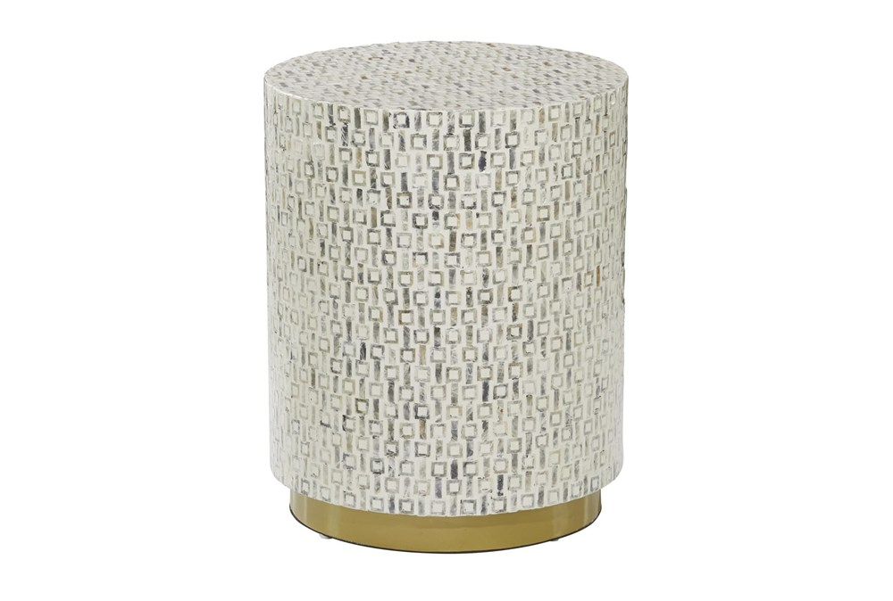 23 Inch White Mother Of Pearl Drum Stool