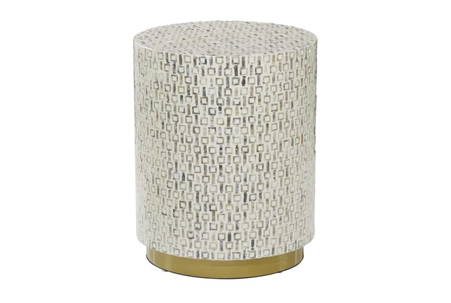 23 Inch White Mother Of Pearl Drum Stool - 360