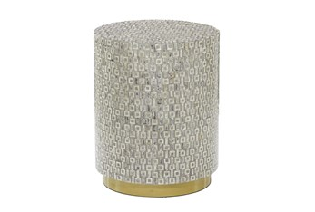 23 Inch Grey Mother Of Pearl Drum Stool
