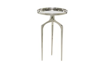 22 Inch Silver Modern Tripod Round Accent Table
