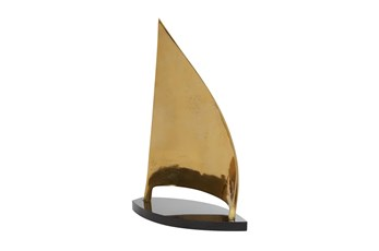 18 Inch Gold + Black Marble Sail Boat Sculpture