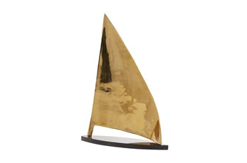 24 Inch Gold + Black Marble Sail Boat Sculpture