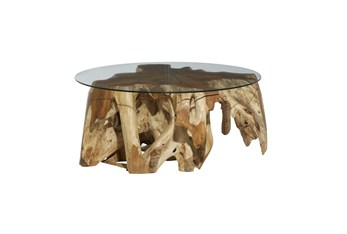 39 Inch Teak Wood Root Round Coffee Table With Glass Top