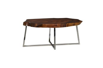 47 Inch Metal + Brown Wood Live Edge Coffee Table