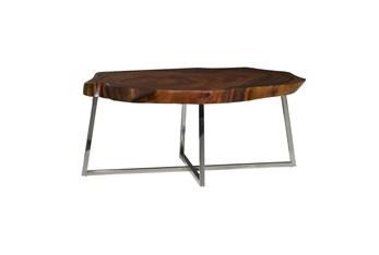 47 Inch Metal + Brown Wood Live Edge Coffee Table