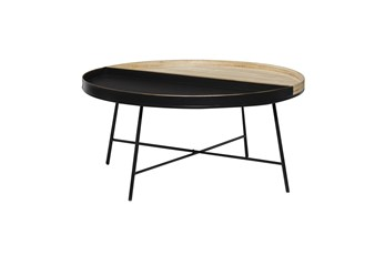 38 Inch Metal + Wood Tray Top Round Coffee Table