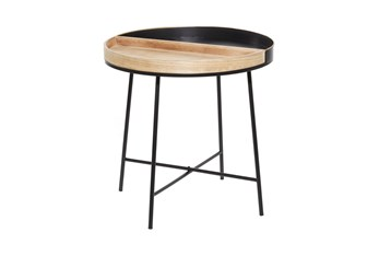 22 Inch Metal + Wood Tray Top Round End Table