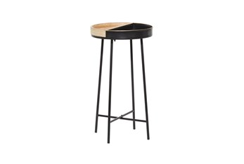 14 Inch Metal + Wood Tray Top Round Accent Table