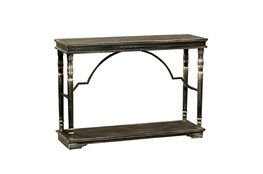 47 Inch Weathered Black Wood Architectural Console Table