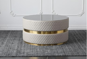 Blue Stone Top With Gold Band Round Coffee Table