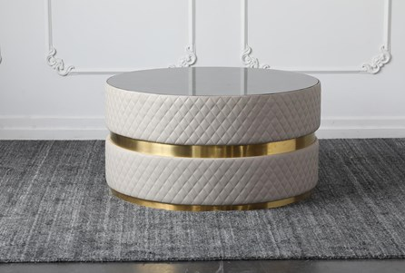 Blue Stone Top With Gold Band Round Coffee Table - Main