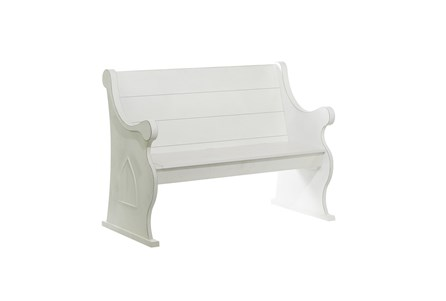 50 Inch Outdoor White Wood Pew Bench - Main