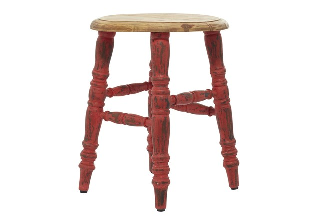 14X18 Inch Red Wood Stool - 360
