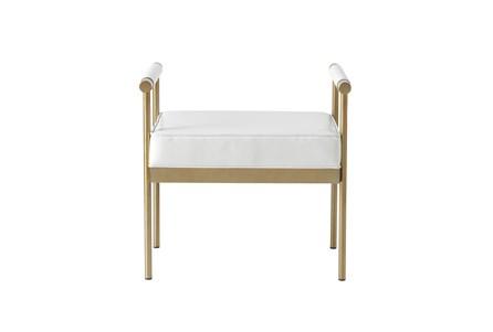 Anita White Faux Leather Gold Bench - Main