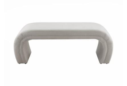 Isla Light Grey Velvet Bench - Main