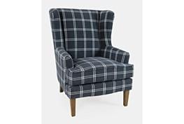 Bingham Navy Windowpane Accent Chair
