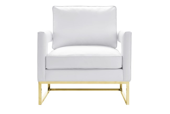 Evelyn White Vegan Leather Accent Chair - 360