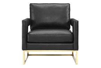 Evelyn Black Vegan Leather Accent Chair
