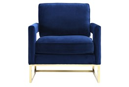 Evelyn Navy Velvet Accent Chair