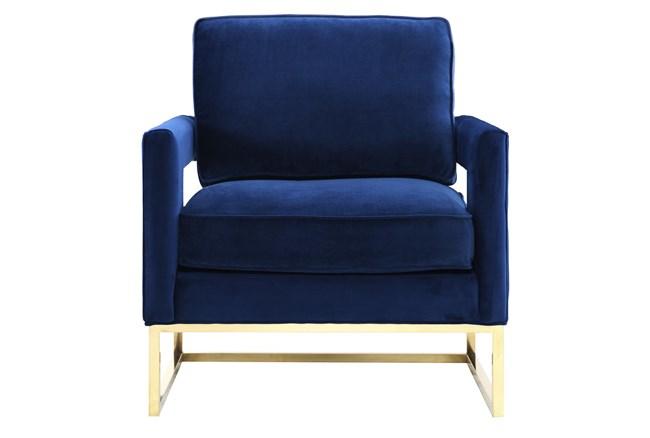 Evelyn Navy Velvet Accent Chair - 360