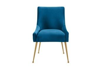 Rosalind Pleated Back Navy Velvet Dining Chair