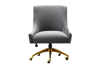 Rosalind Grey Velvet Desk Chair