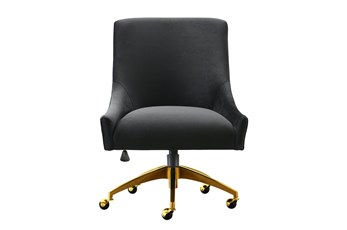 Rosalind Black Velvet Desk Chair
