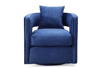 Emma Navy Velvet Swivel Accent Chair