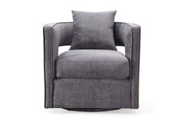 Emma Grey Velvet Swivel Accent Chair