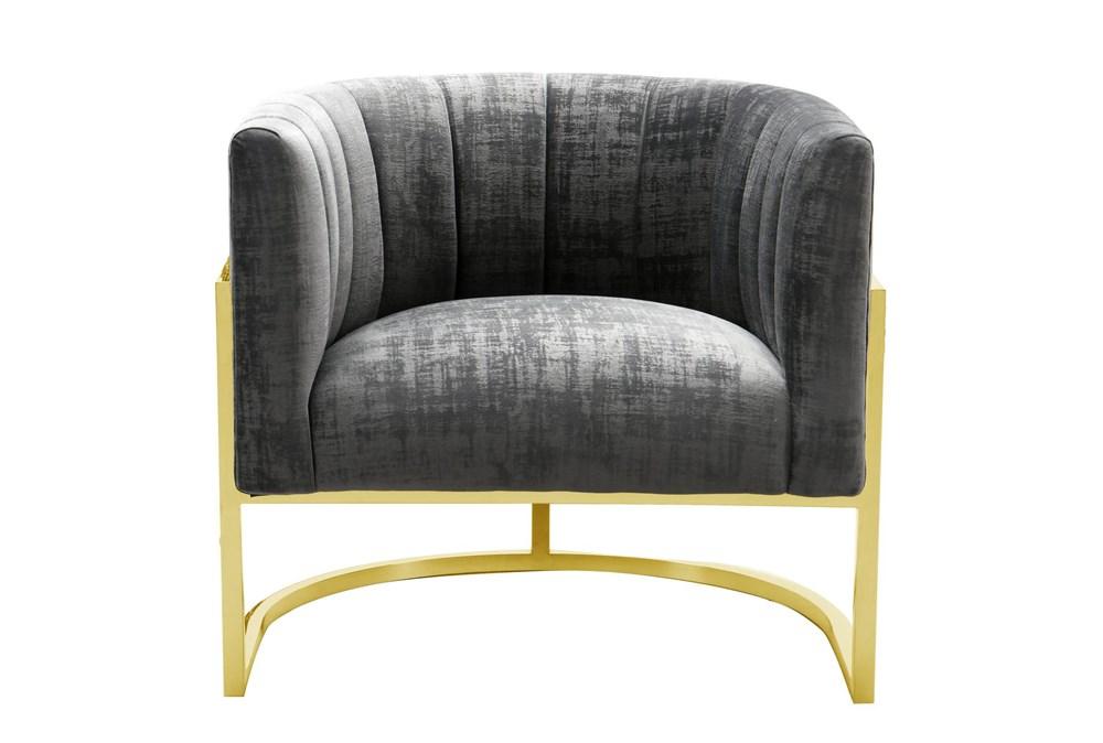 Deanna Slub Grey Velvet Accent Chair