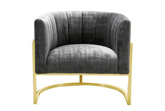 Deanna Slub Grey Velvet Accent Chair - 360