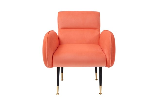 Mae Coral Velvet Accent Chair - 360