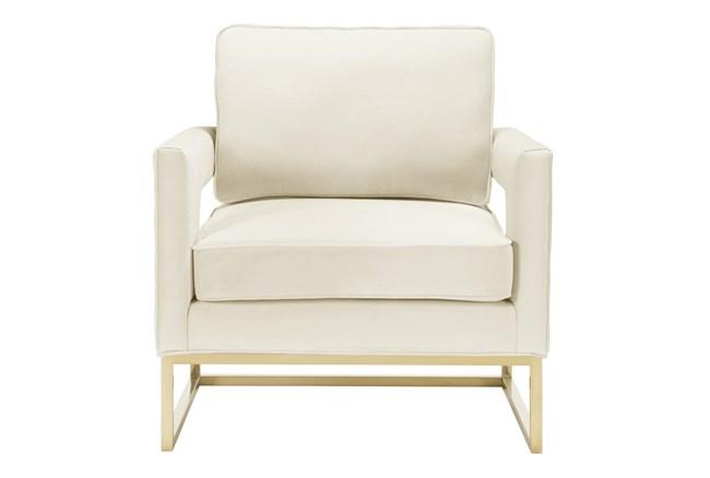 Evelyn Cream Velvet Accent Chair - 360