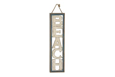 10X41 Beige Wood Beach Sign