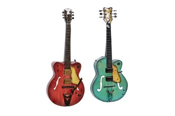 35X14 Inch Multi Color Iron Guitar Wall Decor Set Of 2