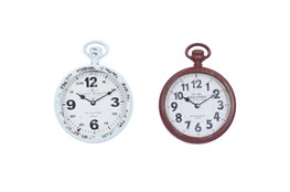 11 Inch Multi Color Iron Wall Clock Set Of 2