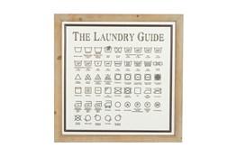 20X20 White Metal + Wood Laundry Wall Decor