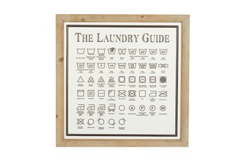 20X20 White Metal + Wood Laundry Wall Decor