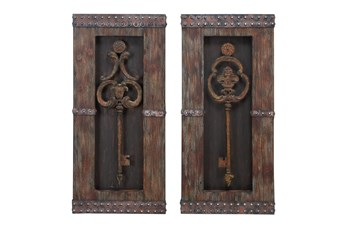 30 Inch Brown Chinese Fir Wood Wall Decor Set Of 2
