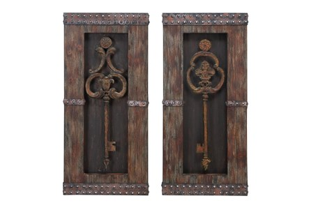 30 Inch Brown Chinese Fir Wood Wall Decor Set Of 2 - Main