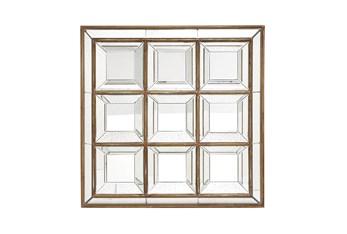 48X48 Brown Wood Wall Mirror