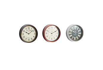 9 Inch Multi Color Iron Wall Clock Set Of 3