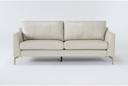Marmont Ivory Leather Sofa By Drew & Jonathan For Living Spaces