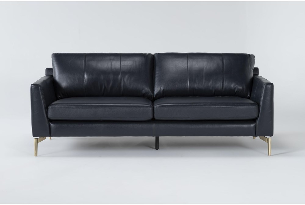 Marmont Navy Leather Sofa By Drew & Jonathan For Living Spaces