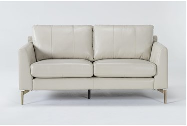 Marmont Ivory Leather Loveseat By Drew & Jonathan For Living Spaces