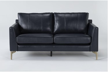 Marmont Navy Leather Loveseat By Drew & Jonathan For Living Spaces