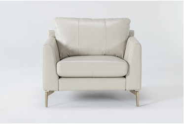 Marmont Ivory Leather Chair By Drew & Jonathan For Living Spaces