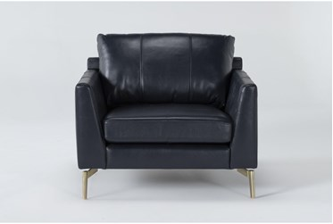 Marmont Navy Leather Chair By Drew & Jonathan For Living Spaces