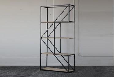 Geometric Pine + Iron Tall Bookcase
