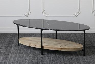 Black Marble Top + Reclaimed Pine Shelf Coffee Table